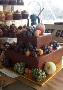 chocolate wedding cake with sugared fruit