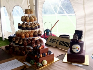 Wedding cake and dessert table with a chocolate wedding cake with sugared fruit, a dark chocolate groom's cake with camera topper, and tower of seven different cupcake flavors.
