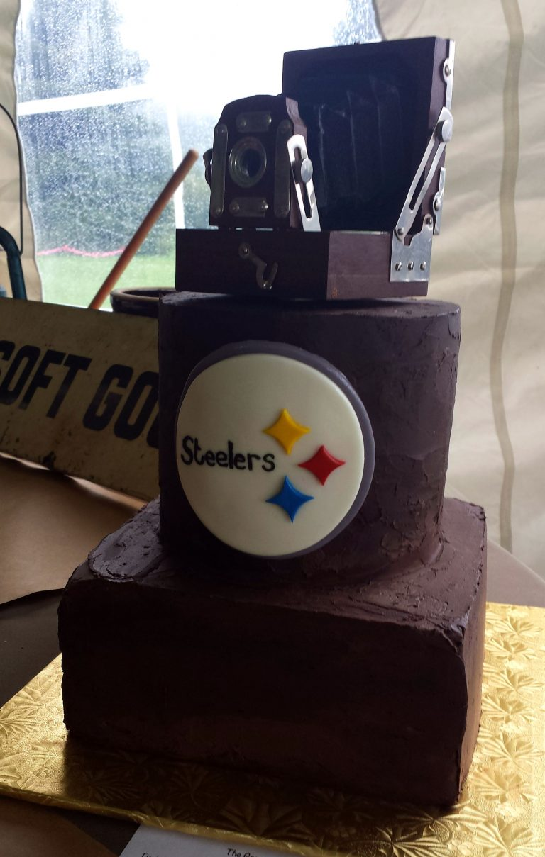 two tier chocolate grooms cake with Steelers logo