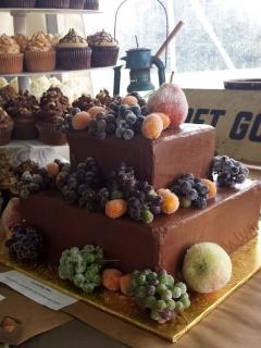chocolate wedding cake with sugared fruit
